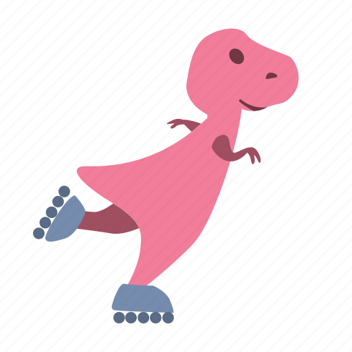 cute, dino, dinosaur, roller, skate, skates icon