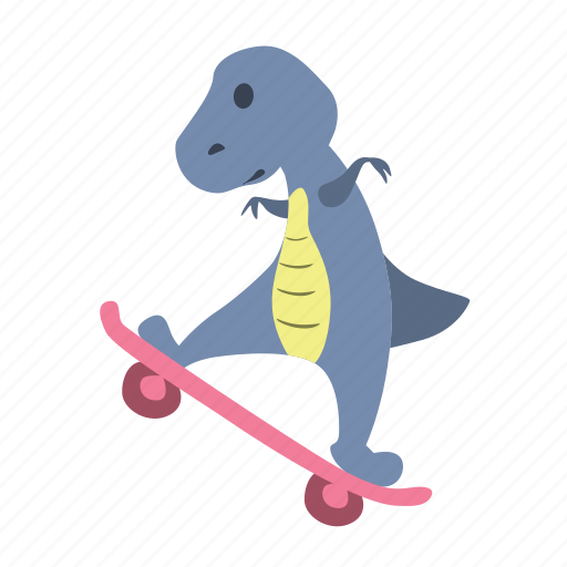 character, cute, dino, dinosaur, fun, skateboard icon