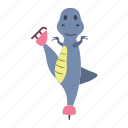 character, cute, dino, dinosaur, happy, skates icon