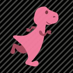 dino, dinosaur, girl, jogging, running icon