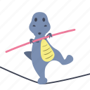 boy, dino, dinosaur, rope, slackline, stick, walk icon