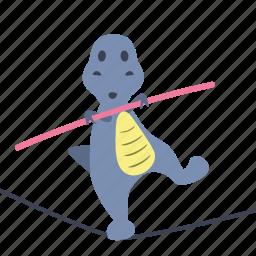 boy, dino, dinosaur, rope, slackline, stick, walk icon