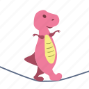 dino, dinosaur, girl, rope, slackline, walk icon