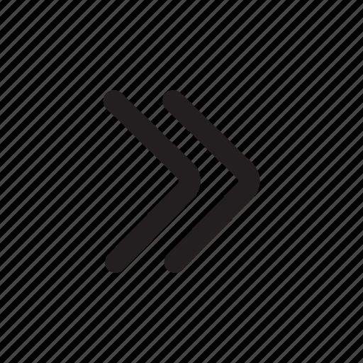 arrow, double right, forward, next, scroll icon