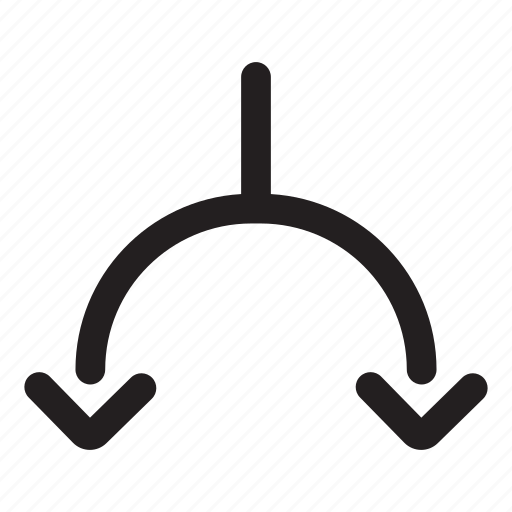 arrow, connected, crossroads, direction, divergence, down, road fork icon