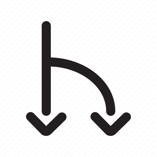 arrow, connected, divergence, down, fork, road icon