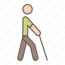 disability, stick, blind, man, walking, blindness, person