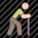 disability, stick, man, walnking, old, pensioner, cane