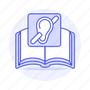 book, cross, deaf, disability, ear, hearing, impairment, loss, out, person icon