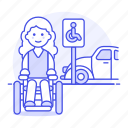 aid, disability, disable, disabled, female, mobility, parking, reserved, sign, space, wheelchair icon