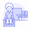 accessible, aid, disability, disable, disabled, impairment, male, mobility, sign, toilet, wheelchair icon