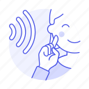 deaf, disability, ear, hand, hearing, impairment, language, loss, male, sign, sound, wave icon