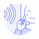 deaf, disability, ear, female, hand, hearing, impairment, language, loss, sign, sound, wave icon