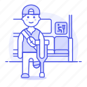 aid, bus, crutch, disability, impairment, inside, male, mobility, priority, seat, sign icon