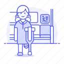 mobility, bus, priority, crutch, disability, aid, inside, impairment, seat, sign, female icon