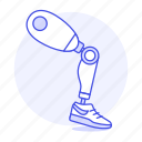 1, artificial, disability, impairment, leg, mechanical, metal, mobility, prosthesis, robot icon