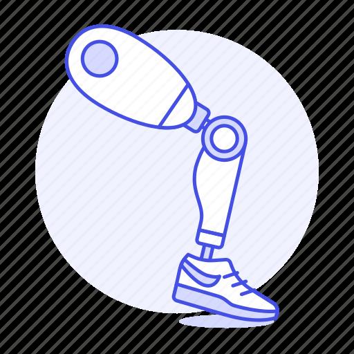 1, artificial, disability, impairment, leg, mechanical, metal, mobility, prosthesis, robot icon