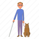 blind, dog, guide, male, man icon