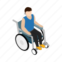 disability, disabled, isometric, man, medical, person, wheelchair icon