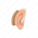sound, isometric, medical, deaf, health, aid, ear icon