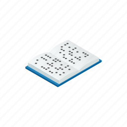 blind, blindness, book, braille, disability, disabled, isometric icon