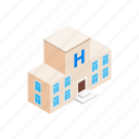 building, isometric, medical, modern, window, exterior, hospital