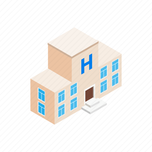 building, exterior, hospital, isometric, medical, modern, window icon