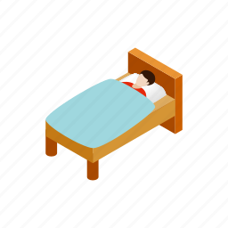 bed, health, ill, illness, isometric, man, sick icon