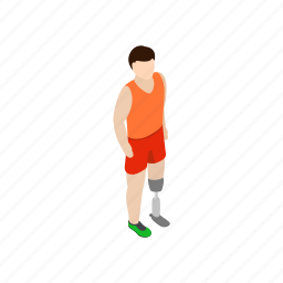 amputee, artificial, isometric, leg, limb, man, prosthetic icon