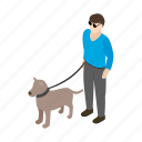 animal, blind, disabled, dog, guide, isometric, pet icon
