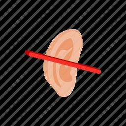 crossed, deaf, ear, hear, human, isometric, sound icon