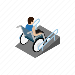 disabled, isometric, man, medical, person, ramp, wheelchair icon