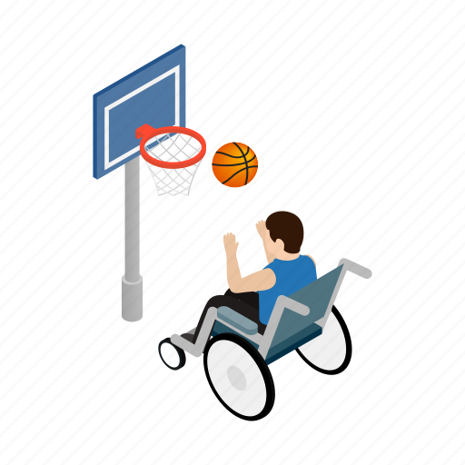 adult, basketball, disabled, isometric, sitting, sport, wheelchair icon
