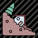 landslide, landslip, avalanche, disaster icon