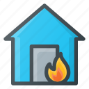 catastrophe, disaster, fire, house icon