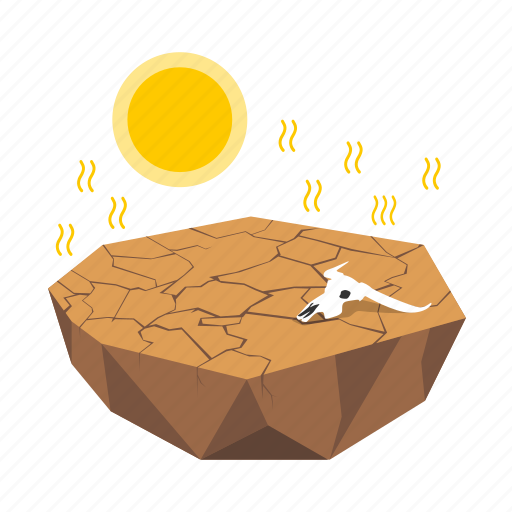 crack, desert, dry, environment, global warming, heat, hot icon