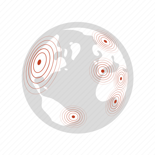 disaster warning center, earth, earthquake activities, global, network, radar, richter icon