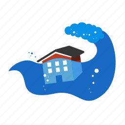 disaster, environment, float, flood, nature, water, wave icon