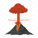 alert, angry, bomb, danger, disaster, environment, eruption, explode, explosion, lava, moutain, natural, nature, problem, smoke, volcanic, volcano, warning icon