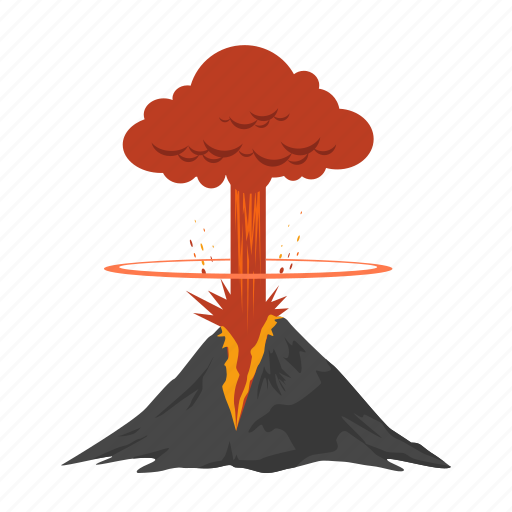 bomb, disaster, explode, explosion, lava, volcanic, volcano icon