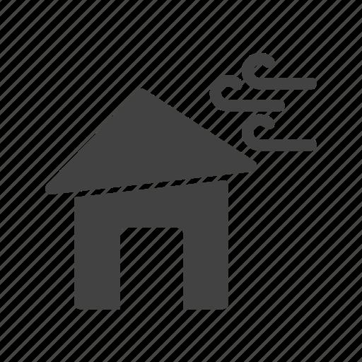 damage, fallen, house, storm, tornado, tree, wind icon