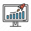 business, chart, growth, increase, report, rocket, success icon