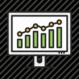 chart, computer, diagram, marketing, screen, statistics icon
