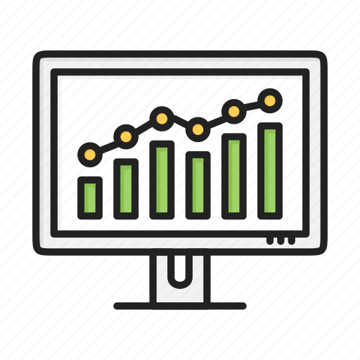 chart, computer, diagram, marketing, screen, statistics icon
