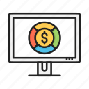 business, chart, dollar, finance, graph, pie icon