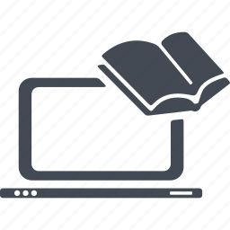 book, computer, distance learning, ebook, laptop icon