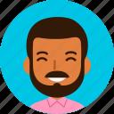 man, avatar, face, male, black, brown, beard