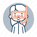 avatar, chinese, diver, diversity, girl, people, profession icon