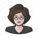 asian, beatnik, glasses, goatee, manbun icon