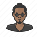 asian, beatnik, glasses, goatee, manbun
